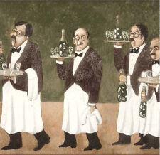 York Waiter Wine Bottle Brigade Wallpaper Border Green BV2348B