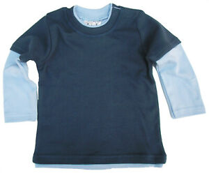 SALE ITEM 5 pack of Layered Skater Tops Navy with Blue Sleeves Size 0-6 Months