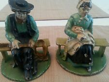 Antique Cast Iron Amish Book Ends Hand Painted Hubley?
