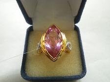 Hermosa ENGARZADA DE CUARZO Y Diamante 14K Y Oro/925 Anillo Tamaño o