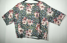 PINK BLUE GREY FLORAL STRETCH LADIES CASUAL TOP OVERSIZED SIZE 6 TOPSHOP