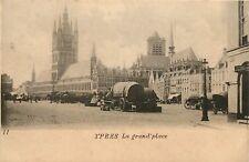 Zeldzame oude Postkaart met zicht op de Grote Markt te IEPER 1902 (PK170)