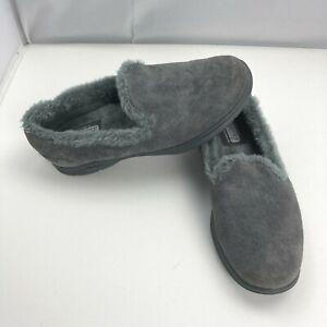 Skechers Goga Mat Technology Suede Faux Fur Gray Comfort Shoes Women's Size 7.5