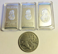 """NEW"" NED KELLY SET OF 3 x 10 Gram INGOTS Finished in 999 Silver, Outlaw, Guns"