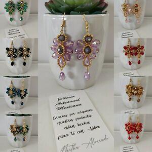 Aretes de moda de mujer , cristal, mayoreo  20 pares joyeria artesanal Méxicana.