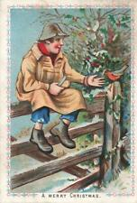 Victorian FARMER FEEDING ROBIN   Christmas Greetings Card
