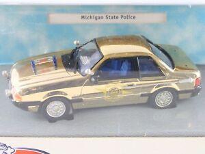 1991 Ford Mustang Michigan State Police Patrol Car White Rose 1:43 GOLD MODEL