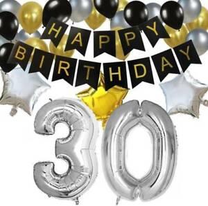"Silver Metallic Balloon Number 1-9 Large 40"" Birthday Hen Party Wedding Decor"