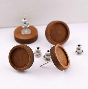 10 Holz-Ohrstecker 12 mm mit Verschluss dunkles Holz Edelstahl Fassung Cabochons