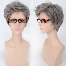 Mens Gray Costume Synthetic Anime Wig Short Straight Cool Hair Side Bangs Style