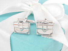 Tiffany & Co Silver Office Briefcase Brief Case Cuff Link CuffLinks Box Included