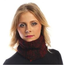 Scarf Headband Infinity Loop Chunky Knit Black Red Marl Multiway Knitted Winter