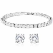 Womens Round Cz 4mm Tennis Bracelet With a Set of 925 Sterling Silver Studs