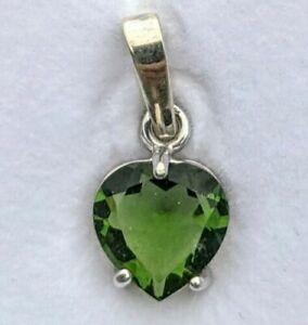 925 Silver Faceted Genuine Tektite Necklace Authentic Moldavite Heart Pendant i