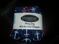 Imagine  one size all in one  Overboard  cloth diaper new