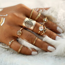 UK BOHO 9PC RING SET Bohemian Gypsy Ethnic Tribal Turkish Jewellery Gift Gold