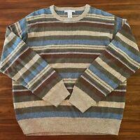 Geoffrey Beene Mens Sweater Size Large Green Blue Brown Stripes Lightweight