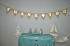 Thank You Hessian Fabric Bunting Banner Rustic Shabby Chic Wedding  White Heart