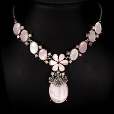 Silver 925 Genuine Natural Pink Mother of Pearl & Marcasite Necklace 17.5 Inch