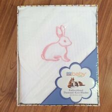 Martha Stewart Baby Blanket White With Embroidered Pink Bunny Security Lovey
