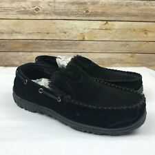 Clarks Suede Mens Venician Moccasin Slippers Slip On Faux Fur Black Size 12M