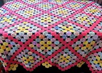 Antique Hand made Yo-Yo Quilt Coverlet King or Queen 105x104