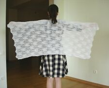 RUSSIAN HANDMADE KNITTED WOMEN'S SCARF SHAWL WRAP MOHAIR WHITE NEW