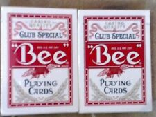 Set of 2  Sealed Red/Red BEE Club Special Poker Casino Quality Playing Cards