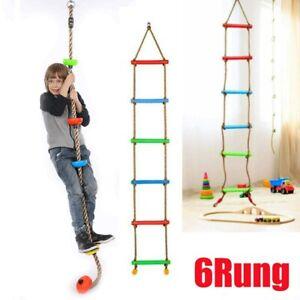 Tree Swing Gym Climbing Rope w/6Rung Swing Seat Playground Kids Outdoor Fun