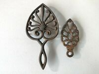 Lot of 2 Wilton Vintage Black Cast Iron Trivets Wall Hanging or Table Decor H1
