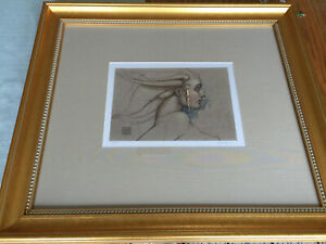 """MICHAEL PARKES """"Angel Study"""" Granolithograph Signed Numbered COA Framed"""