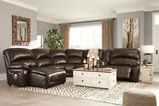 Living Room Sectional - 6pcs Brown Leather Power Reclining Sofa Chaise Set IF10