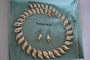 "Vintage Tiffany & Co Peretti Sun Wave Necklace Sterling Silver 17"" Very Rare"