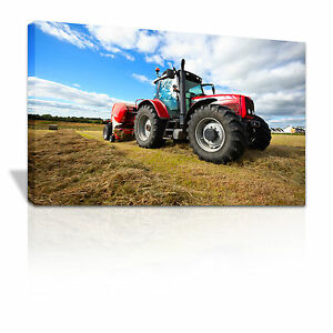 Tractor working in a field children's bedroom canvas print - C026