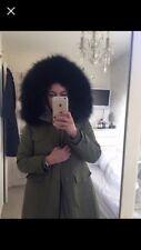 womens green genuine raccoon fur hooded parka coat size 6