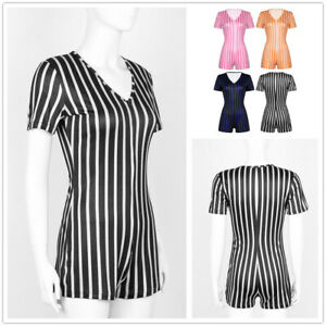 Womens Deep V Neck Striped Short Sleeve Bodysuit Stretch Leotard Romper Jumpsuit