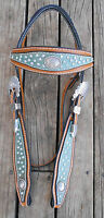 WESTERN SHAPED HEADSTALL with RHINESTONES and CONCHOS -- BARREL RACER