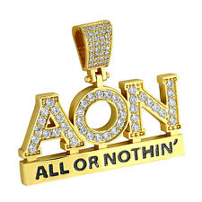 All Or Nothing Pendant Iced Out Simulated Diamonds 14k Gold Finish Charm Custom