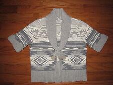 Ralph Lauren Gray Wool Angora Indian Blanket Toggle Cardigan Sweater L