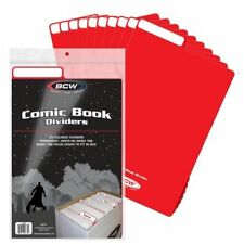 (25) BCW COMIC BOOK DIVIDERS  - WRITE-ON FOLDABLE TABBED - RED PLASTIC 1-CD-RED