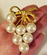 Vintage Faux Pearl Grapes Leaves Gold Tone Brooch Pin