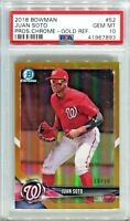 JUAN SOTO 2018 Bowman Chrome Gold Refractor # / 50 rookie PSA 10 GEM MINT