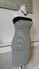 Zara Basic White Black Monochrome Striped Bodycon Stretchy Boob Tube Dress SZ S