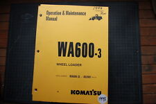 Komatsu WA600-3L Wheel Loader Operation/Operator Maintenance Shop Manual guide