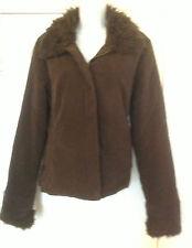 Ladies Principles Faux Suede and Fur Jacket Size 12 Brown
