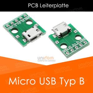 Micro USB Typ B Löt Buchse Platine Leiterplatte PCB Board DIP Adapter 5 Kontakte