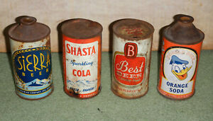4 old vintage flat top & cone top beer/soda cans