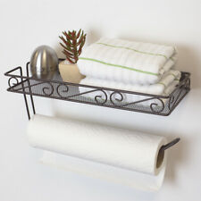 Scroll Collection Wall Mounted Paper Towel Holder with Basket, Bronze EBY55179
