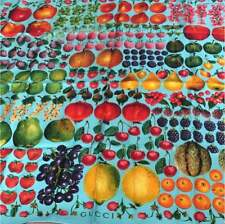 """GUCCI Scarf Stole Silk 100% Fruit Food Pattern Turquoise Women Auth New Rare 34"""""""