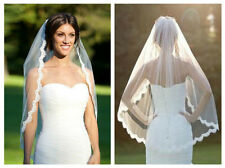Ivory Bridal Wedding Veil 1 Tier Elbow Length Lace Trim with Comb Handmade